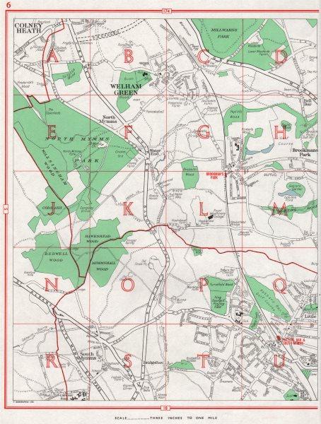 POTTERS BAR.Colney Heath Welham Green Brookmans Park South Mimms.Herts 1964 map