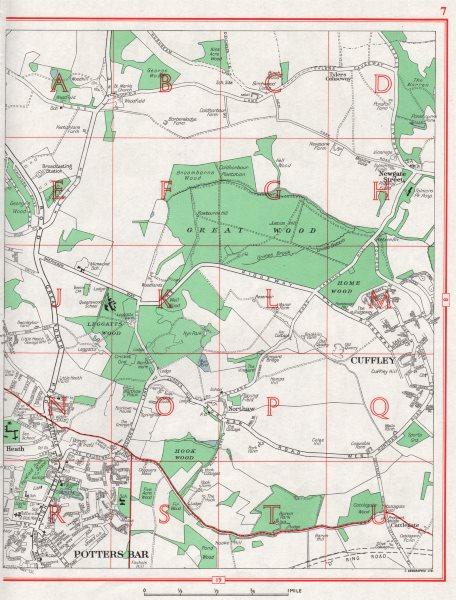 Associate Product POTTERS BAR. Cuffley Northaw Great Wood Newgate Street. HERTFORDSHIRE 1964 map