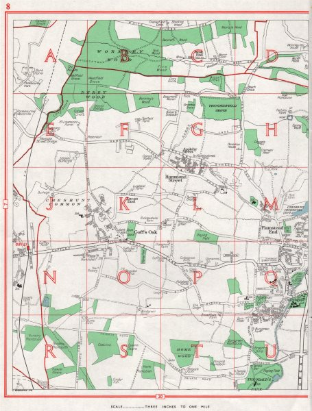 Associate Product CHESHUNT.Hammond Street Flamstead End Goff's Oak Cuffley.HERTFORDSHIRE 1964 map