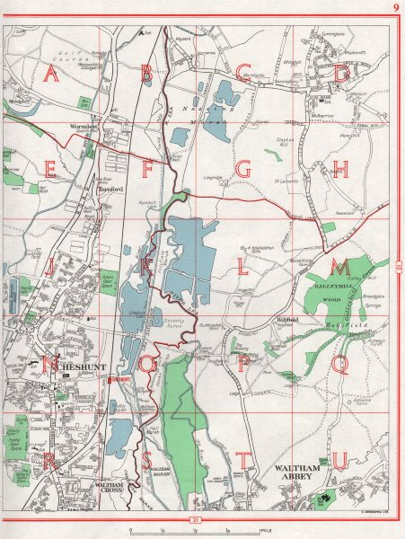 Associate Product CHESHUNT. Waltham Abbey Waltham Cross Wormley Turnford Lower Nazeing 1964 map