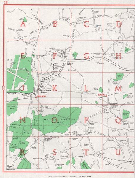 Associate Product NORTH WEALD BASSETT. Greensted Green Tyler's Green Toot Hill. Essex 1964 map