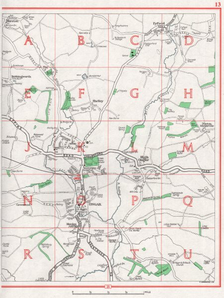 Associate Product CHIPPING ONGAR. High Ongar Moreton Fyfield Bobbingworth. Essex 1964 old map