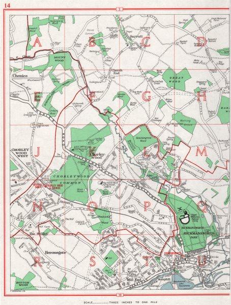 Associate Product RICKMANSWORTH. Chorleywood Chenies Heronsgate Sarratt. HERTFORDSHIRE 1964 map
