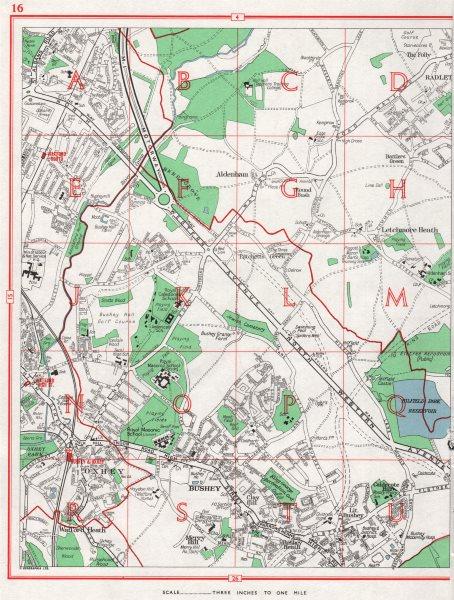 Associate Product WATFORD EAST. Bushey Oxhey Radlett Merry Hill Heath Aldenham Letchmore 1964 map