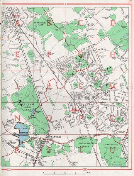 Associate Product BOREHAMWOOD. Radlett Elstree Shenley Haberdasher's Askes. HERTFORDSHIRE 1964 map