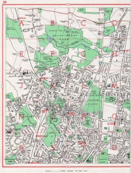 Associate Product ENFIELD. Bush Hill Park Forty Hill Bull's Cross Grange Park 1964 old map