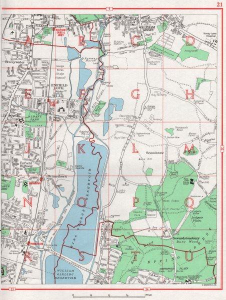 Associate Product ENFIELD. Waltham Abbey Enfield Lock Wash Highway Brimsdown. Essex 1964 old map