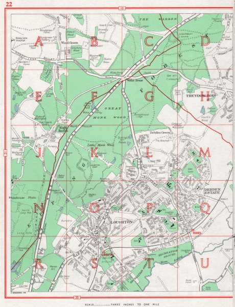 Associate Product LOUGHTON. Theydon Bois Debden Green High Beach. Essex 1964 old vintage map