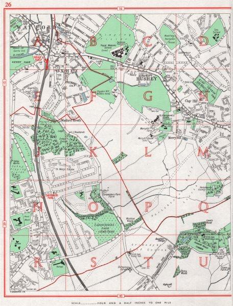Associate Product BUSHEY. Watford Oxhey Carpenders Park Watford Heath Merry Hill. Herts 1964 map