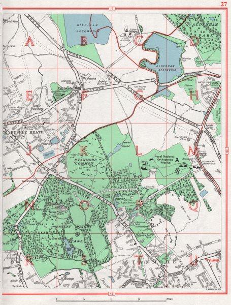 STANMORE.Bushey Heath Little Bushey Caldecote Hill Elstree.Pre M1.Herts 1964 map