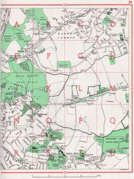Associate Product BARNET. Mill Hill Barnet Common Arkley Highwood Hill 1964 old vintage map