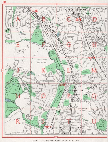 Associate Product BARNET. Wheststone New Barnet East Barnet North Finchley Oakleigh Park 1964 map