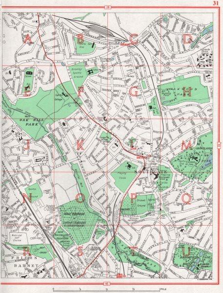 Associate Product SOUTHGATE. Friern Barnet Palmers Green Oakwood Park 1964 old vintage map chart