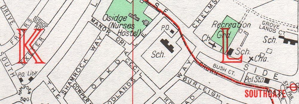 SOUTHGATE Friern Barnet Palmers Green Oakwood Park 1964 old vintage map chart