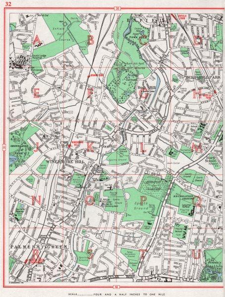 Associate Product SOUTHGATE.Winchmore Hill Enfield Palmer's Green Bush Hill Park Edmonton 1964 map