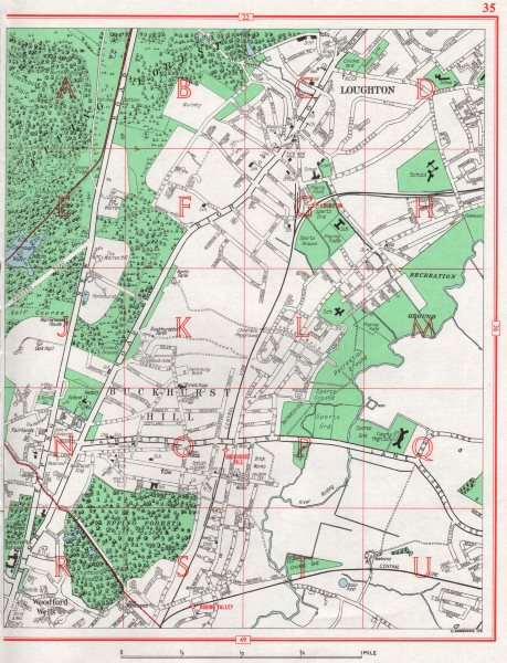 Associate Product LOUGHTON. Buckhurst Hill Woodford Wells Epping Forest Chigwell. Essex 1964 map