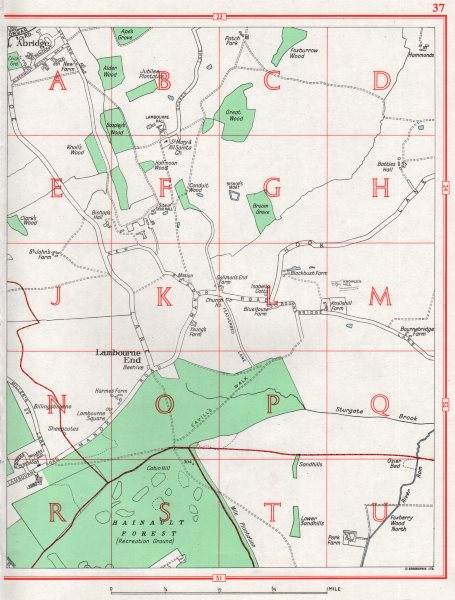 Associate Product ESSEX. Chigwell Row Lambourne End Abridge Hainault Forest 1964 old vintage map