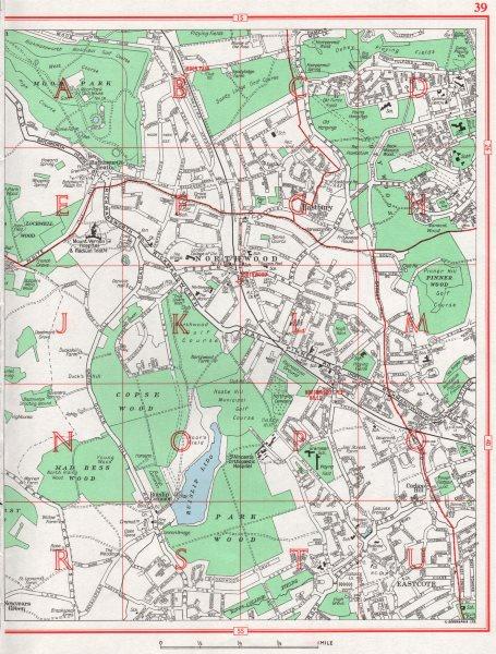 NORTHWOOD. Eastcote Bastbury South Oxhey Ruislip 1964 old vintage map chart