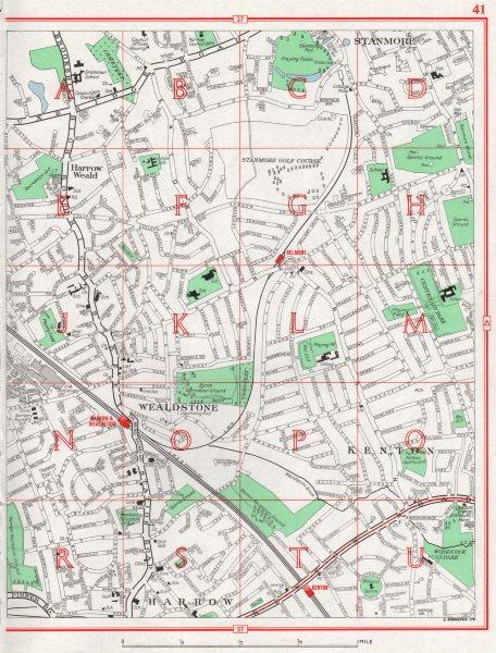 Associate Product HARROW. Stanmore Harrow Weald Wealdstone Kenton 1964 old vintage map chart
