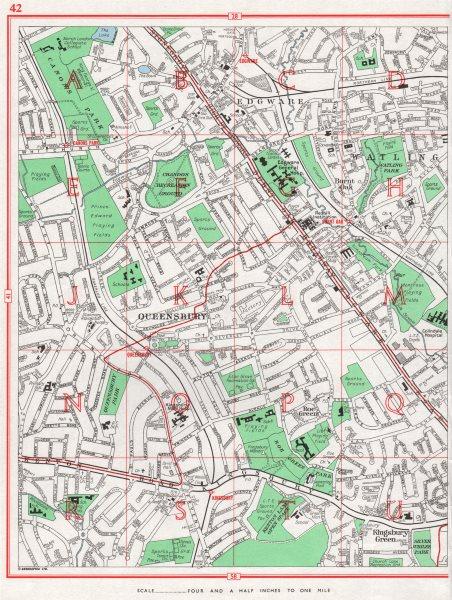 Associate Product LONDON. Queensbury Edgware Kingsbury Green Little Stanmore Burnt Oak 1964 map