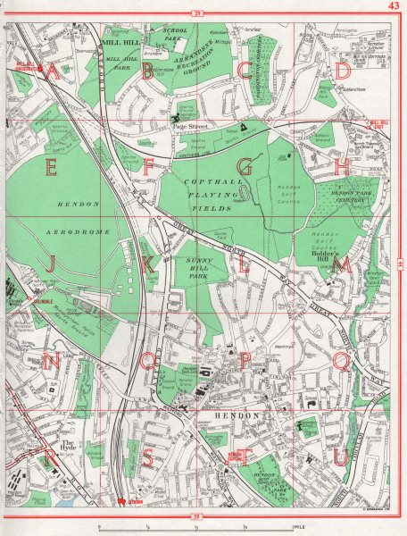 Associate Product HENDON.Hyde Mill Hill Holder's Hill Colindale.Hendon Aerodrome.Pre-M1 1964 map