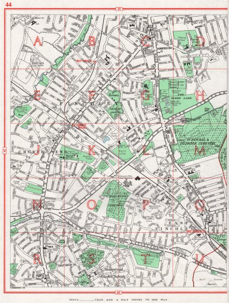 Associate Product FINCHLEY. East Finchley Hampstead Garden Suburb Church End 1964 old map