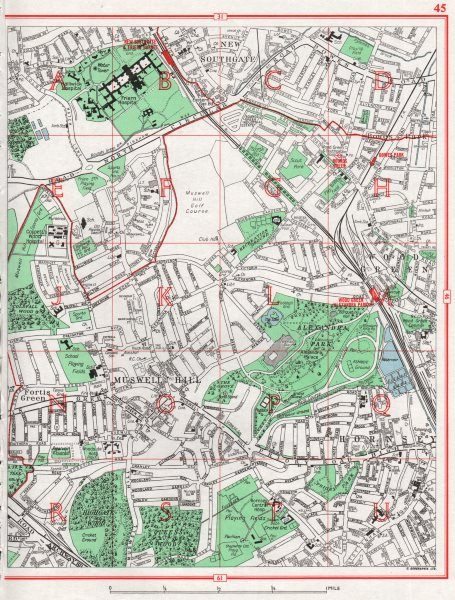 Associate Product MUSWELL HILL. New Southgate Fortis Green Hornsey Wood Green Bowes Park 1964 map