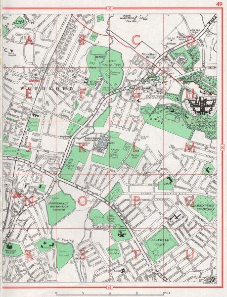 Associate Product WOODFORD. Woodford Bridge Woodford Green Clayhall Wanstead. Pre-M11 1964 map