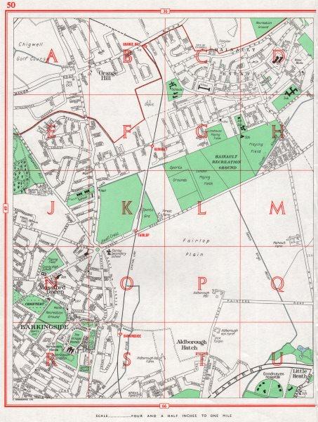 Associate Product BARKINGSIDE. Hainault Grange Hill Aldborough Hatch Fulwell Cross 1964 old map