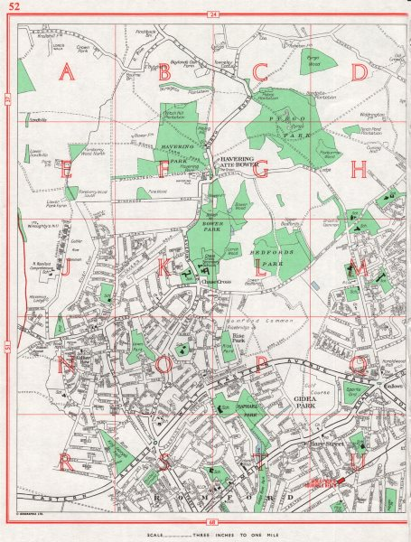 ROMFORD. Havering-Atte-Bower Gidea Park Collier Row Chase Cross 1964 old map
