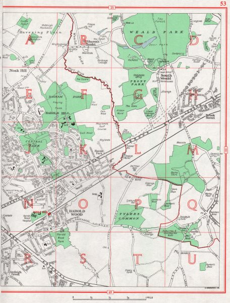 Associate Product HAROLD WOOD. Noak Hill Harold Hill S Weald Harold Park Romford Brook St 1964 map