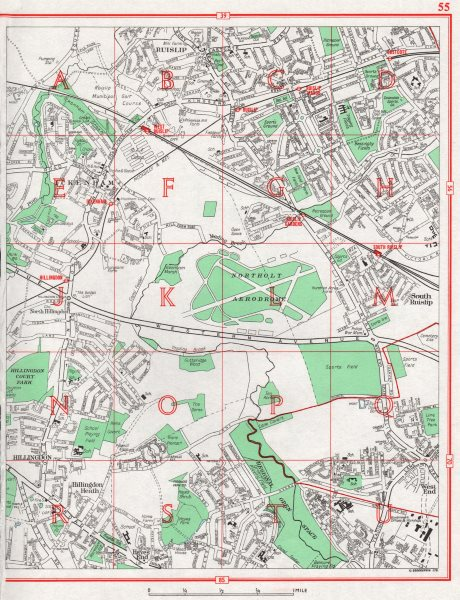 Associate Product HILLINGDON. Ruislip Hayes End Ickenham South Ruislip Northolt Aerodrome 1964 map