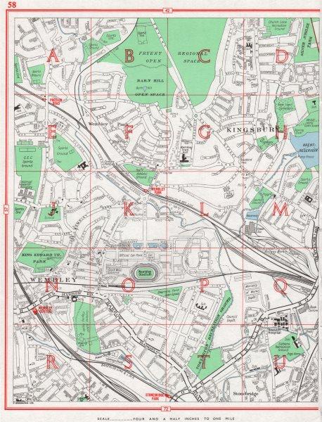 Associate Product WEMBLEY. Stadium Kingsbury Stonebridge Park Preston Road Brent 1964 old map