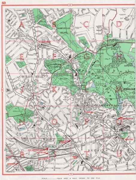 HAMPSTEAD. Childs Hill West Hampstead Belsize Park Hampstead Heath 1964 map