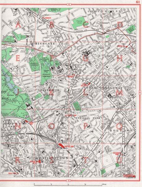 Associate Product LONDON.Highgate Holloway Dartmouth/Tufnell Park Gospel Oak Kentish Town 1964 map