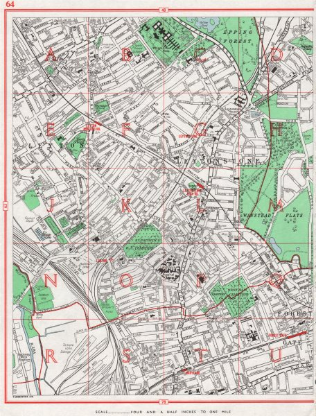 Associate Product LEYTON. Leytonstone Forest Gate Wanstead Flats Maryland Epping Forest 1964 map