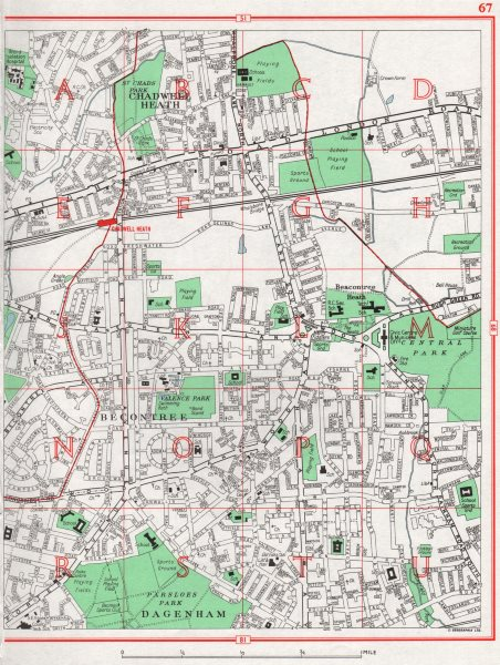 Associate Product BECONTREE. Chadwell Heath Dagenham Parsloes Park 1964 old vintage map chart