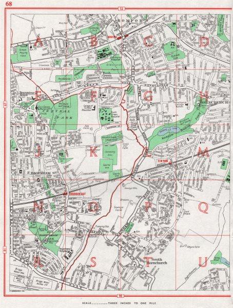 Associate Product HORNCHURCH. Romford Dagenham Rush Green Elm Park Harrow Lodge Park 1964 map