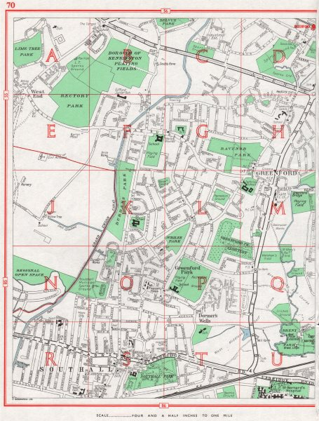 Associate Product GREENFORD. Southall Greenford Park Yeading. London Borough of Ealing 1964 map