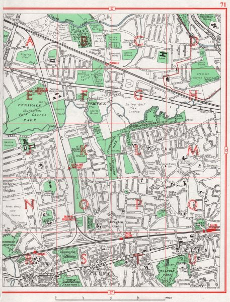 Associate Product EALING. Alperton Brentham Drayton Green Perivale Elthorne Heights 1964 old map