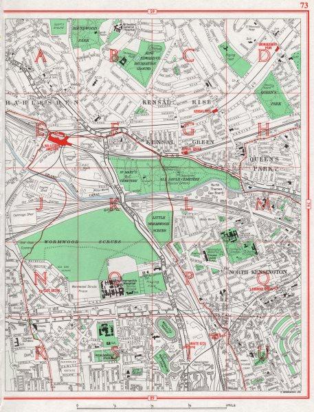 Associate Product LONDON.Harlesden Kensal Rise/Green Queen's Park N Kensington White City 1964 map