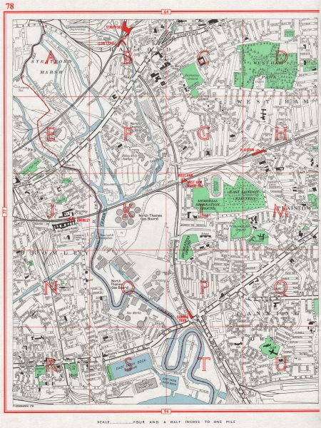 Associate Product EAST-END. Stratford West Ham Bromley Bow Poplar Plaistow Canning Town 1964 map