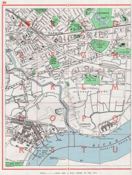 Associate Product BARKING. Creekmouth Barking Reach Upney. London 1964 old vintage map chart