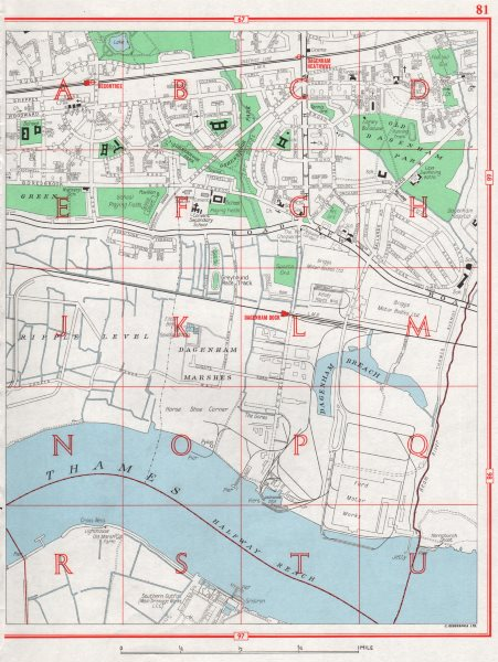 Associate Product DAGENHAM. Dagenham Marshes Dock Becontree Thamesmead Halfway Reach 1964 map