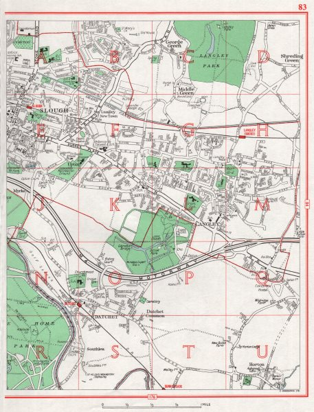 Associate Product SLOUGH.Langley Datchet George/Middle/Shreding Green Horton.Pre-QM res. 1964 map