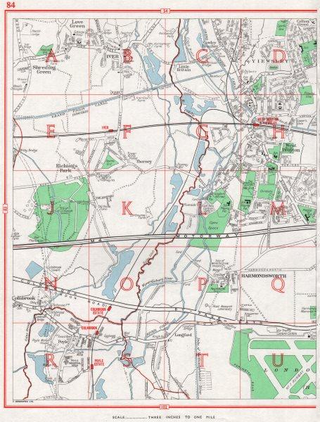 Associate Product W DRAYTON YIEWSLEY.Iver Poyle Harmondsworth Colnbrook Heathrow.Pre-M25 1964 map