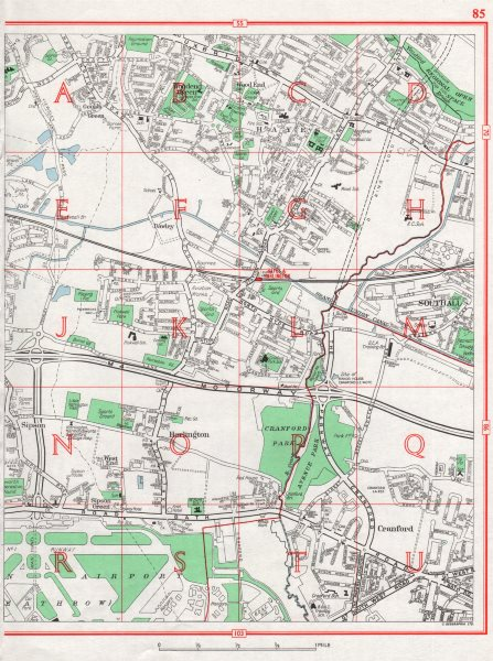 Associate Product HAYES. Heathrow Southall Sipson Harlington Cranford. Pre-A312/A408 1964 map