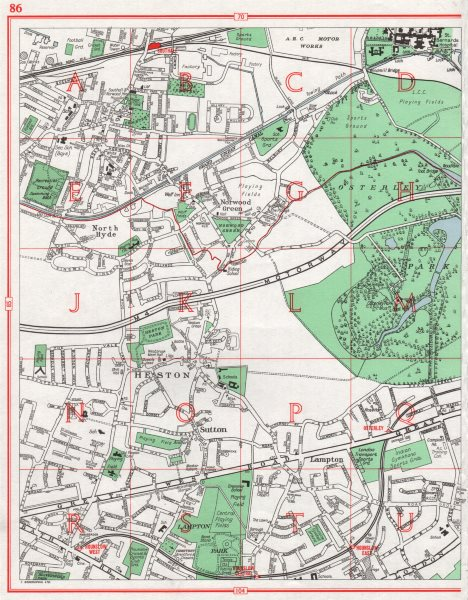 Associate Product OSTERLEY. Heston Southall Hounslow North Hyde Norwood Green Lampton 1964 map