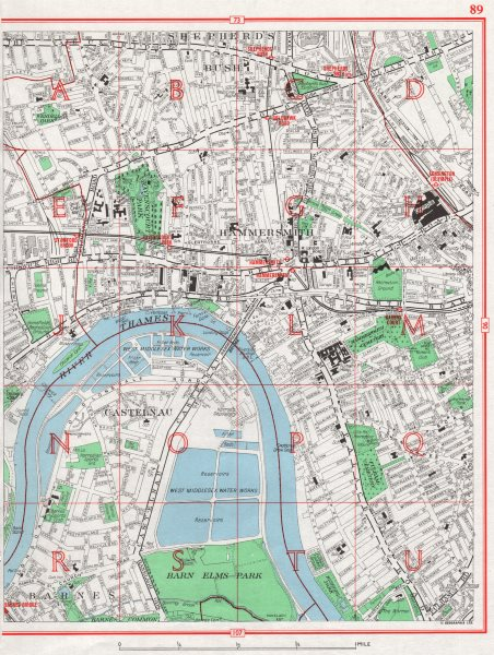HAMMERSMITH. Barnes Shepherd's Bush Fulham Castelnau Olympia 1964 old map