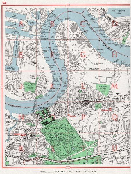 Associate Product GREENWICH. West India Docks pre-Canary Wharf. Kidbrooke Cubitt Town 1964 map